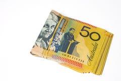 Bunt av femtio räkningar för australisk dollar på vit bakgrund Royaltyfri Fotografi
