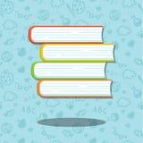 Bunt av fyra böcker på blå bakgrund med sömlöst psttern Illustrationer för utbildning och skola vektor illustrationer