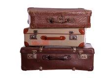 Bunt av gamla resväskor Arkivfoton