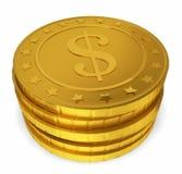 Bunt av guld- mynt Arkivbild