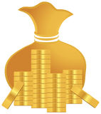 Bunt av guld- mynt Royaltyfri Bild
