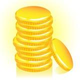 Bunt av guld- mynt, vektor. Arkivfoto