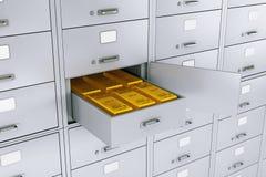 Bunt av guld- stänger i öppnad ask för säker insättning för bank framförande 3d stock illustrationer