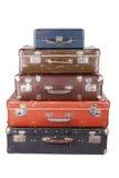 Bunt av isolerade gamla resväskor Royaltyfria Foton
