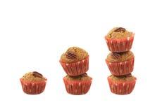 Bunt av isolerade muffin för pecannötmutter Arkivfoto