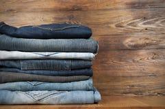 Bunt av jeans royaltyfria bilder