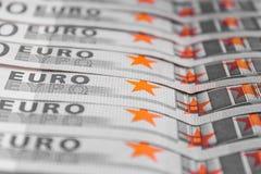 Bunt av kontanta pengar - makro för 500 euroräkningar Arkivbild