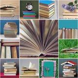 bunt av läroböcker och en öppen bok Papperssidor tillbaka skola till royaltyfria foton