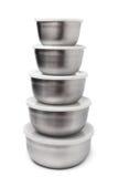 Bunt av metalliska behållare för mat Arkivfoto