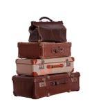 Bunt av mycket gamla resväskor Arkivbild