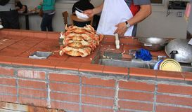 Bunt av nya krabbor på gatamarknad royaltyfri bild