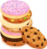 Bunt av olika blandade kakor Chokladchip, socker, med is och frostat, fuskverk Isolerad vektorillustration stock illustrationer