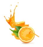 Bunt av orange fruktskivor med fruktsaftfärgstänk. Royaltyfria Bilder