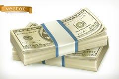 Bunt av pengar gears symbolen vektor illustrationer