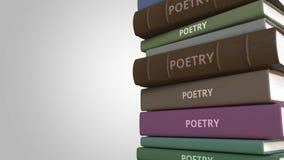 Bunt av poesiböcker, loopable animering 3D royaltyfri illustrationer
