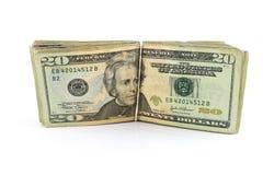Bunt av $20 räkningar Royaltyfri Bild