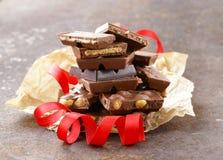 Bunt av stångstycken av choklad arkivfoton