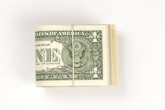 Bunt av USA 1 dollar som isoleras på vit bakgrund Royaltyfri Fotografi