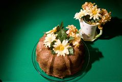 Bunt cake 1. Fresh home baked chocolate bunt cake with floral arrangement Royalty Free Stock Image