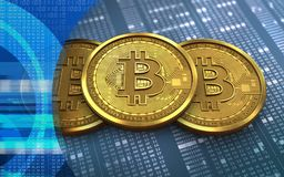 bunt för bitcoin 3d Arkivbild