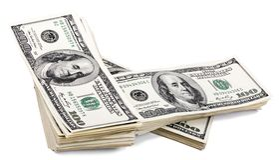 Bunt för 100 US$-räkningar Royaltyfria Bilder