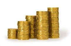 bunt för stapel för pengar för myntguld Arkivfoton