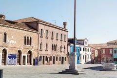 Bunt gemalte Häuser auf Burano-Insel, Italien Lizenzfreies Stockbild
