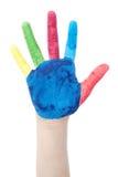 Bunt gemalte Hand Stockbild