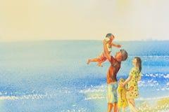 Bunt malen vom Strand und von der Familie in Gefühlwolke backgrou lizenzfreies stockbild