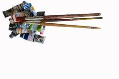 Bunt vom Aquarellrohr auf Weißbuchhintergrund Stockfotos