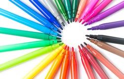 Bunt vom Farbstift lokalisiert, topview Stockfoto