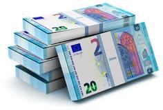 Buntar av 20 eurosedlar stock illustrationer