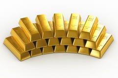 Buntar av guld- stänger Arkivbilder