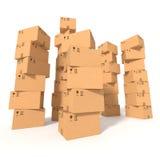 Buntar av kartonger stock illustrationer