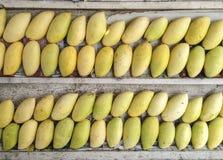 Buntar av mogna gula mango för söt arom bär frukt på träbunt Arkivbilder