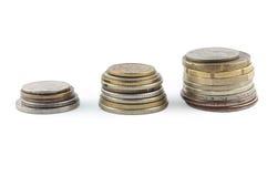 Buntar av myntar. Pengar och finansserie. Royaltyfria Bilder