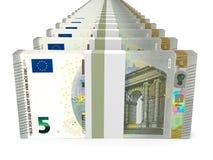 Buntar av pengar Fem euro vektor illustrationer