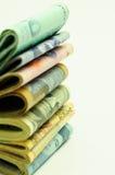 Buntar av pengar - makro Arkivfoto