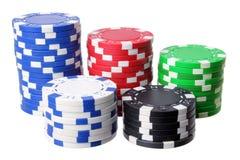 Buntar av pokerchiper Royaltyfri Bild