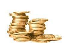 Buntar av skinande mynt royaltyfri foto