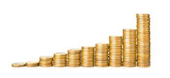 Buntar av skinande mynt royaltyfria bilder