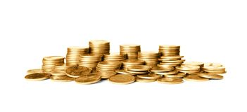 Buntar av skinande mynt arkivfoton