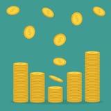 Buntar av symbolsflyget för guld- mynt som ner faller Diagramform Symbol för dollartecken kontant pengar Gå upp graf Inkomst och  Arkivfoto