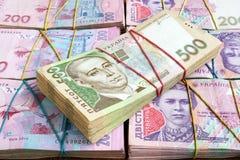 Buntar av ukrainska hryvniasedlar Pengarna av Ukraina arkivbild