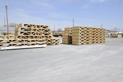 Buntar av wood bockar Arkivbild