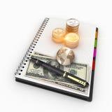 buntar för tolkning 3D av USA-valuta för finans och bankrörelsen Arkivfoton