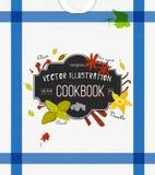 Bunte Abdeckung für Kochbuch, Notizbuch mit Gewürzen in der flachen Art Vektorküchenhintergrund Stilisiert Ikonen Lizenzfreie Stockfotos