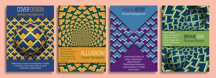 Bunte Abdeckung Schabloneen mit Gestaltungselementen der optischen Täuschung Broschüre, Broschüre, Jahresbericht, dynamisches Des vektor abbildung