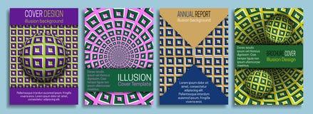 Bunte Abdeckung Schabloneen mit Gestaltungselementen der optischen Täuschung Broschüre, Broschüre, Jahresbericht, dynamisches Des stock abbildung