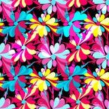 Bunte abstrakte Blumen auf einem nahtlosen Muster des schwarzen Hintergrundes Stockbilder